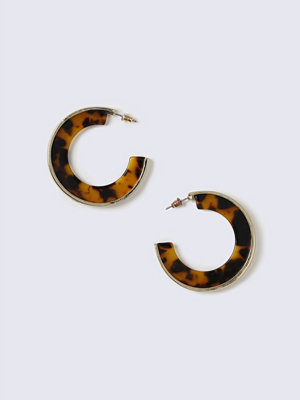 Gina Tricot örhängen Gold Look Tortoiseshell Hoop Earrings