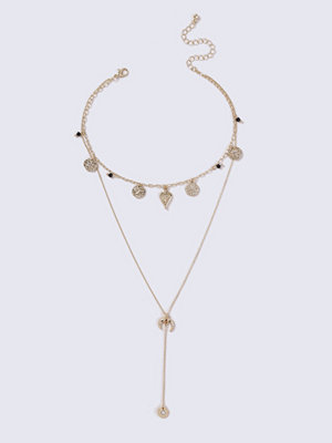 Gina Tricot halsband Gold Look Charm Choker And Drop