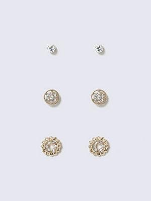 Gina Tricot örhängen Gold Look Diamante Stud Multipack