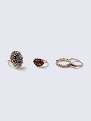 Gina Tricot Gold Look Vintage Jewel Multipack Rings