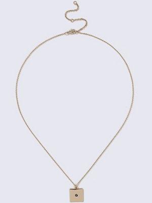 Gina Tricot halsband Gold Look Square Rhinestone Pendant