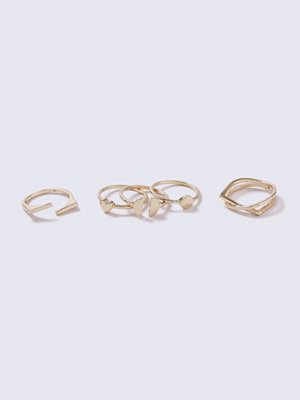 Gina Tricot Gold Look Mini Oval Stone Ring Pack