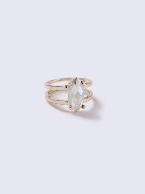 Gina Tricot Gold Look Rhinestone Teardrop Ring