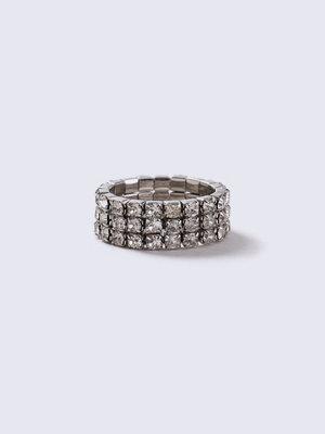 Gina Tricot Silver Look Rhinestone Stretch Ring
