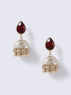 Gina Tricot örhängen Gold Look Red Stone And Bell Earrings