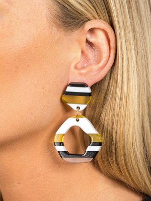 Gina Tricot örhängen Yellow Striped Drop Earrings