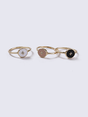 Gina Tricot Gold Look Star Enamel Ring Pack
