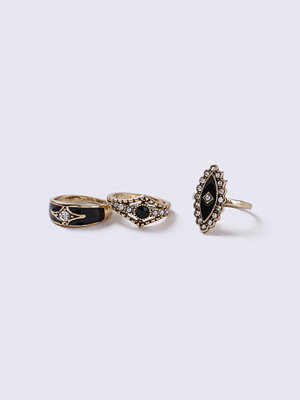 Gina Tricot Gold Look Vintage Enamel Ring Pack