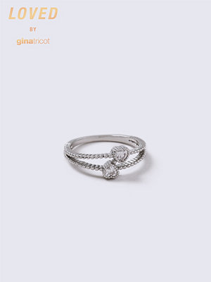 Gina Tricot Loved Heart Crystal Double Ring