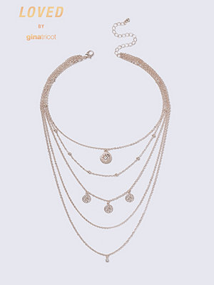 Gina Tricot halsband Loved Rose Gold Charm Multirow
