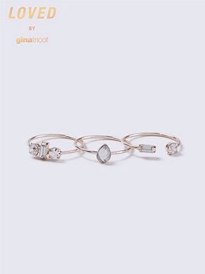 Gina Tricot Loved Rose Gold Crystal Ring Pack