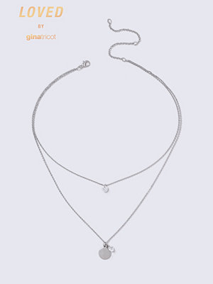 Gina Tricot halsband Loved Silver Crystal Disk MultiRow Necklace