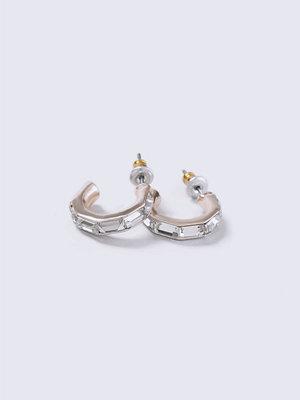 Gina Tricot örhängen Silver Look Loved Mini Crystal Hoop Earrings