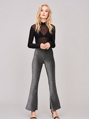 Gina Tricot grå byxor Hilda glitter trousers