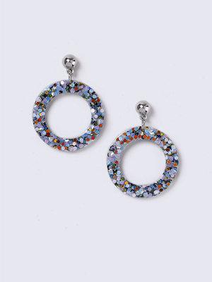 Gina Tricot örhängen Blue Multi Glitter Trap Circle Earrings