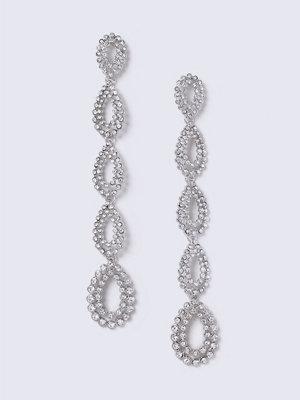Gina Tricot örhängen Silver Long Crystal Drop Earrings