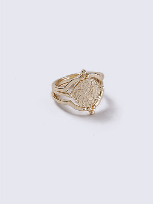 Gina Tricot Gold Look Coin Interlink Ring