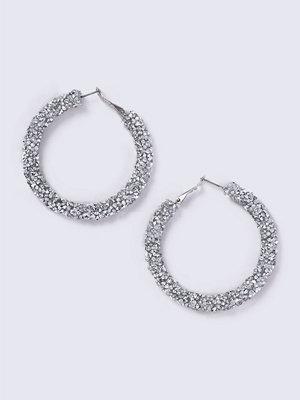 Gina Tricot örhängen Silver Rhinestone Hoop Earrings