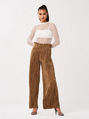 Gina Tricot bruna byxor Millie frill trousers