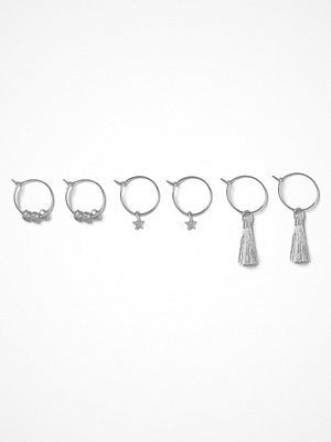 Gina Tricot örhängen Rhodium Charm Multipack Earrings