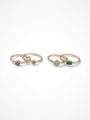 Gina Tricot Gold Look Stone Ring Pack