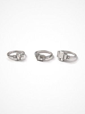 Gina Tricot Rhodium Rhinestone Multipack Rings