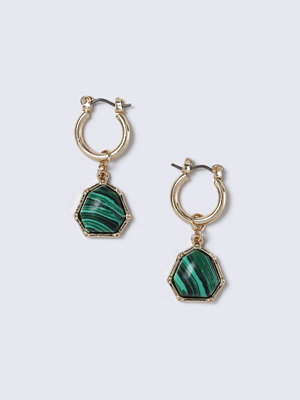 Gina Tricot örhängen Gold Look Malachite Drop Earring