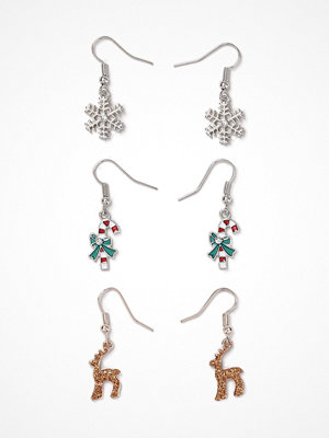 Gina Tricot örhängen Red Multi Reindeer Charm Drop Earrings Pack