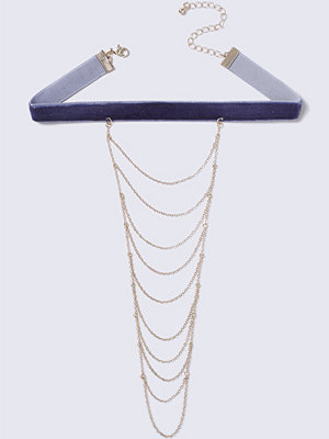 Chokers - Gina Tricot Blue Suede Choker with Multilayer Chain