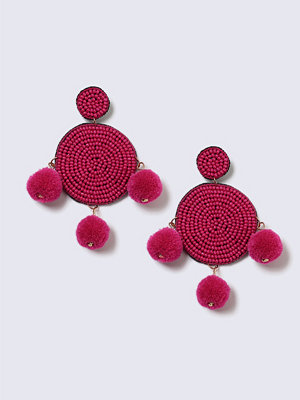 Gina Tricot örhängen Pink Beaded and Pom Pom Statement Earrings