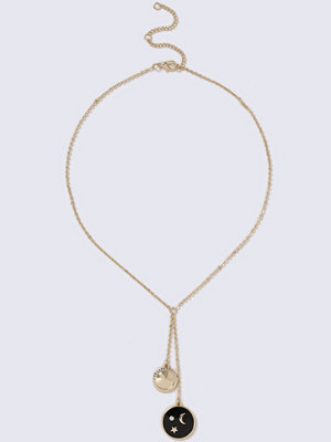 Gina Tricot halsband Gold Look Y-Neck Black Enamel Necklace