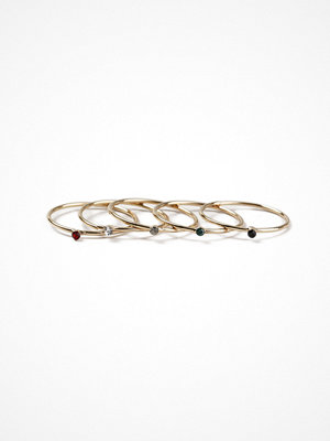 Gina Tricot Gold Look Multi Stone Fine Ring Pack