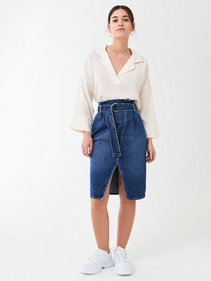 Gina Tricot Paperbag wrap denim skirt