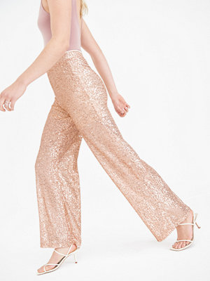 Gina Tricot persikofärgade byxor Yolanda sequins trousers