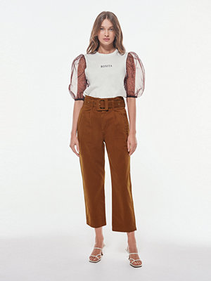 Gina Tricot bruna byxor Paperbag twill jeans