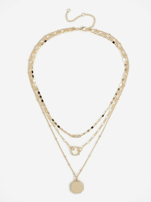 Gina Tricot halsband GOLD CIRCLE LINK HEX MROW NECKLACE