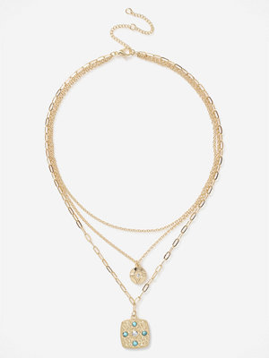 Gina Tricot halsband TEXTURED CHARMS MULTIROW NECKLACE