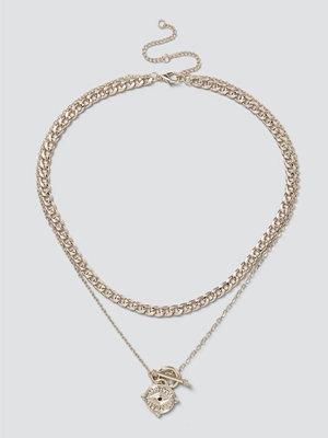 Gina Tricot halsband Gold Eye Coin T-Bar Layered Necklace