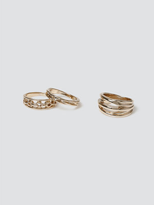 Gina Tricot Gold Chunky Wire Ring Pack