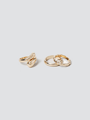 Gina Tricot Gold Chunky Ring Pack