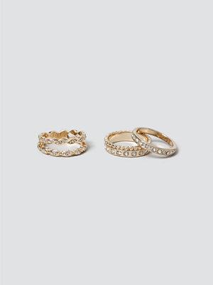 Gina Tricot Rhinestone Ring Pack