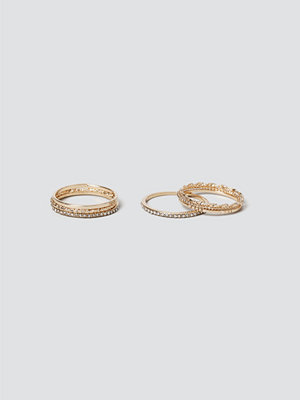 Gina Tricot Finer Gold Textured Ring Pack