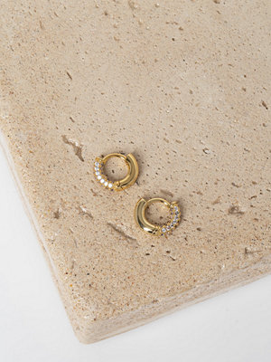 Gina Tricot örhängen Real Gold Plated Rhinestone Hoop Earrings