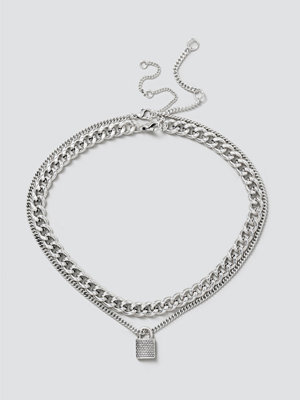 Gina Tricot halsband Silver Textured Padlock Layered Necklace