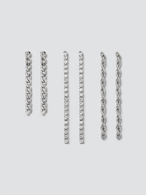 Gina Tricot smycke Silver Mixed Chain Earring Pack