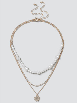 Gina Tricot halsband Pearl & Coin Layered Necklace