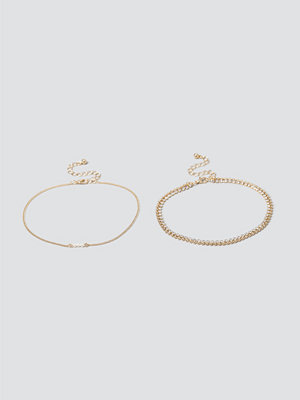 Gina Tricot smycke Pearl & Cupchain Anklet Pack