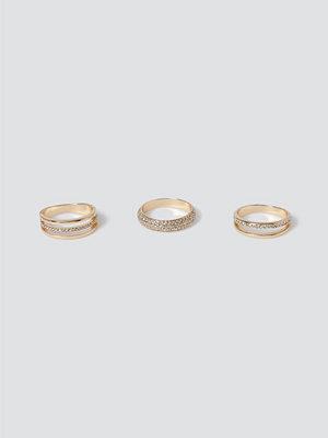 Gina Tricot smycke Gold Rhinestone Ring Pack