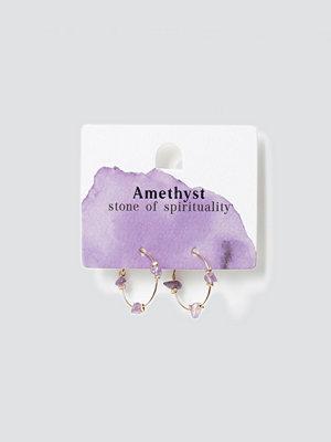 Gina Tricot smycke Amethyst Healing Hoop Earrings