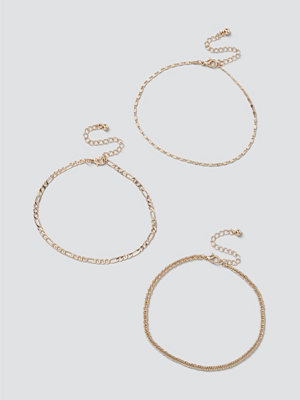 Gina Tricot smycke Gold Mixed Chain Anklet Pack